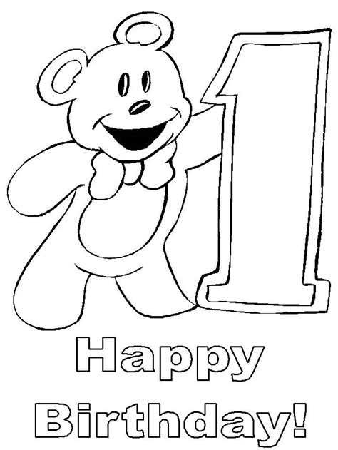 free happy 1st birthday coloring pages