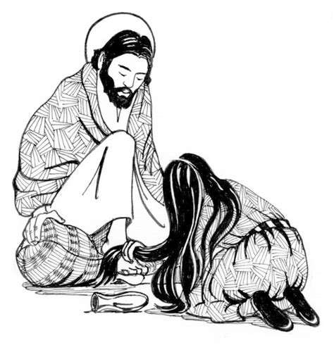 coloring page of mary anointing jesus feet anointing the feet of jesus saint mary s press