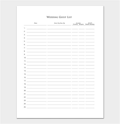Guest List Template 22 For Word Excel Pdf Format Wedding Guest List Template Pdf
