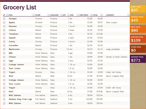 printable grocery list excel 6 excel grocery list bookletemplate org