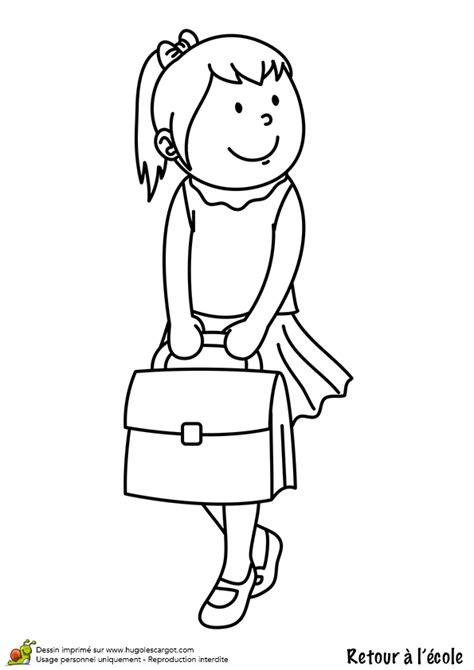 Coloriage retour ecole fille cartable sur Hugolescargot.com