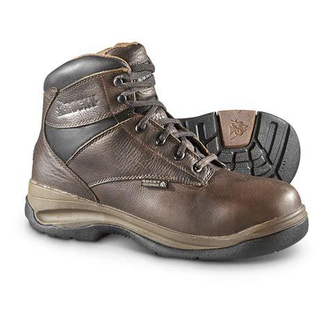 rocky ergotuff waterproof steel toe work boots brown
