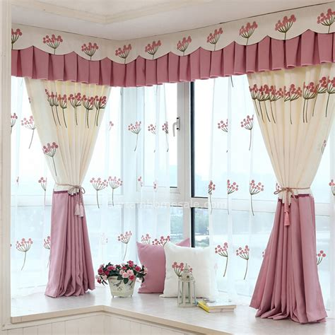 Pink And Beige Curtains Decor Beautiful Floral Pattern Embroidered Beige And Pink Polyester Bay Window Curtain No Valance