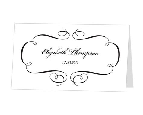 avery place card template calligraphic flourish design