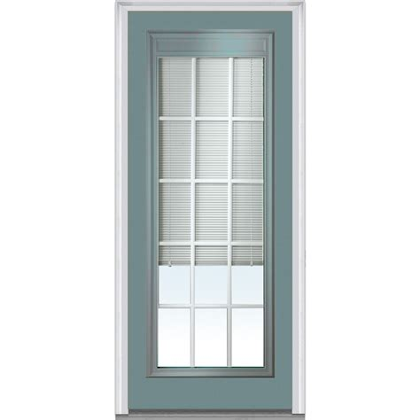 Glass Front Door Shades Doorbuild Mini Blinds Collection Fiberglass Smooth Entry Door Redwood 32 Quot X80