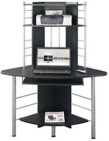 Corner Computer Desk With Bookshelves Piranha Black Compact Corner Computer Desk With 3 Shelves