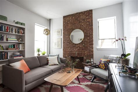 interior paint colors that go with brick exposed sofa