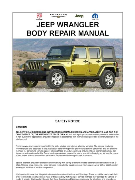 car repair manuals online free 2000 jeep wrangler spare parts catalogs service manual 2008 jeep wrangler repair manual download jeep wrangler diesel 2007 2008 2009