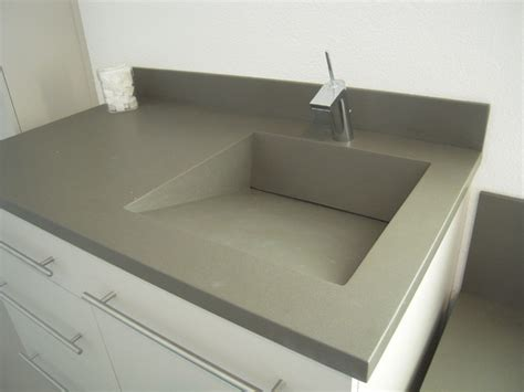 Three Hole Kitchen Faucets by Corian Vanity Ramp Slot Drain Sink Using The Color Concrete
