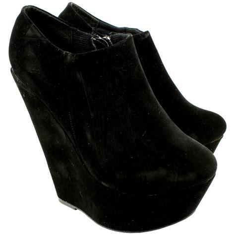 womens suede wedge heel high platform side zip ankle shoe