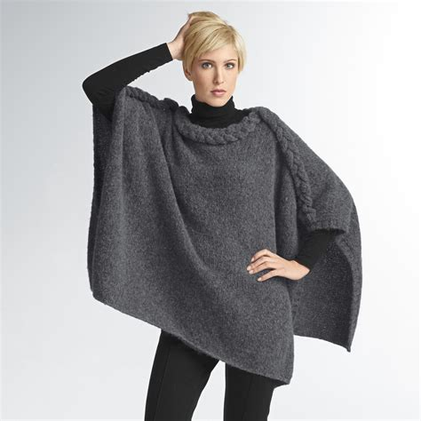 stricken poncho modell 129 4 poncho aus fluffetto junghans wolle