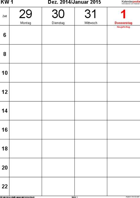 Word Vorlage Jahreskalender 2015 wochenkalender 2015 als word vorlagen zum ausdrucken