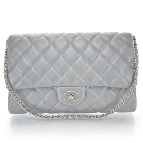 Chanel Quilted Clutch Bag by Chanel Lambskin Quilted Clutch Bag Silver 34442