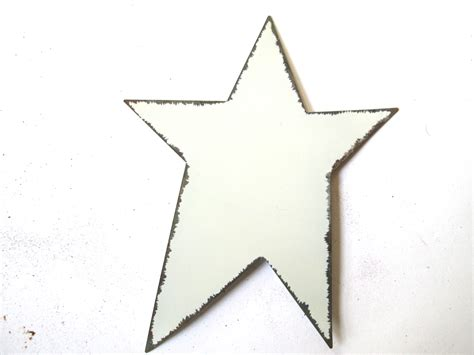printable rustic star 125mm white painted distressed primitive tin star
