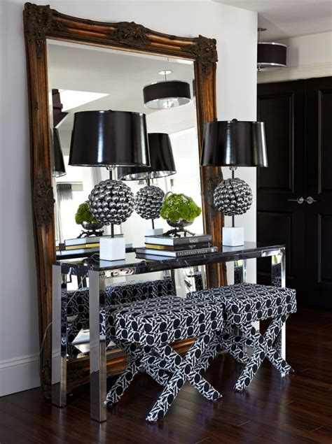 Mirror And Table For Foyer Foyer Large Mirror X Bench Metallic Console Table Atmosphere Interior Design Saskatoon