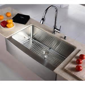 Stainless Steel Farmhouse Kitchen Sinks Kraus Khf200 33 33 Inch Farmhouse Apron Single Bowl 16 Stainless Steel Kitchen Sink