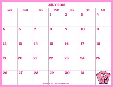 printable monthly calendar for july 2015 8 best images of blank july 2015 calendar printable
