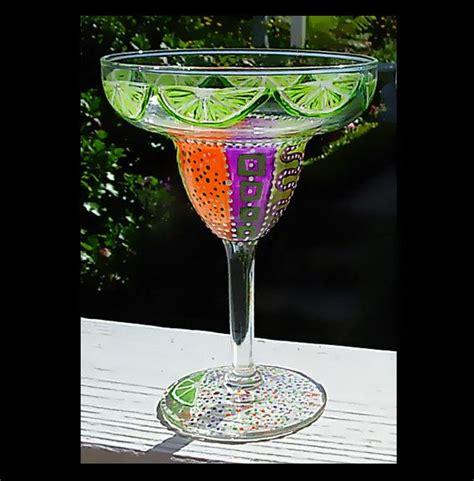 custom order for you margarita glass painted multi
