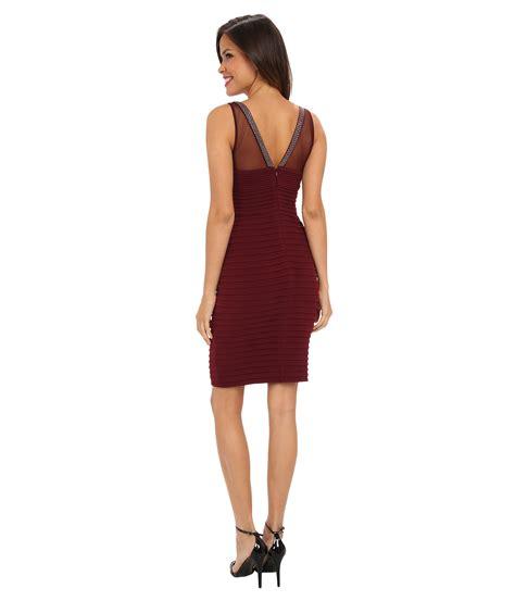 beaded top dress calvin klein purple illusion top dress w beaded neckline