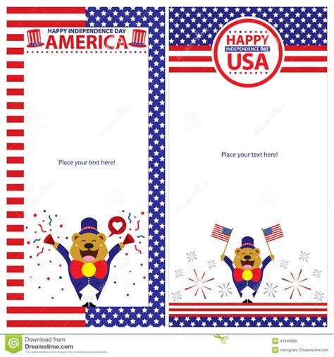 American Revoltion Top Cards Template by American Independence Day Template Card Sets Vector
