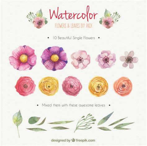 free vector watercolor flowers watercolor flowers and leaves diy pack vector free download