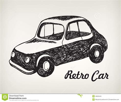 doodle car vector doodle black and white retro car stock
