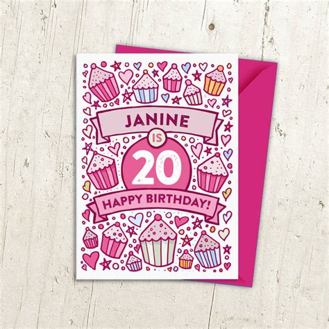 20th Birthday Cards 20th Birthday Card Cupcake Personalised By A Is For