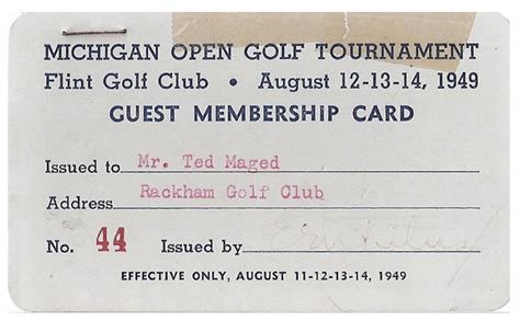 Golf Membership Card Template by Flint Expatriates Flint Artifacts 1949 Flint Golf Club
