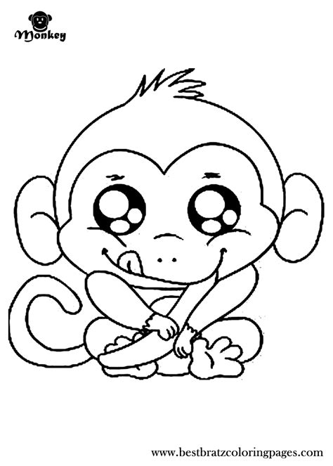 5 cute baby monkeys coloring pages