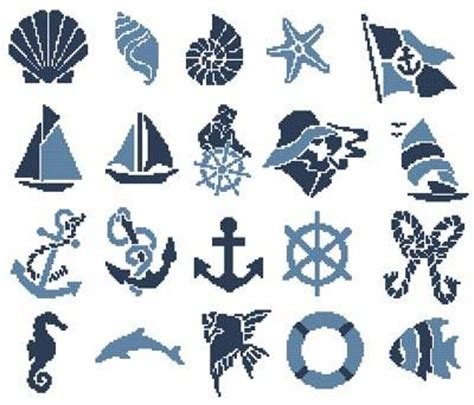 Seashore Home Decor nautical motifs cross stitch pattern nautical