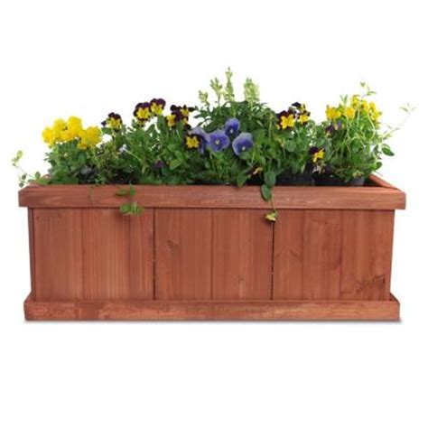 home depot wooden planters pennington 28 in x 9 in wood planter box 100045296 at the home depot