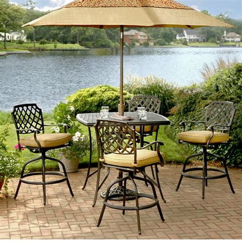 5 Piece Heritage Bar Height Patio Set By Agio Counter Height Patio Furniture