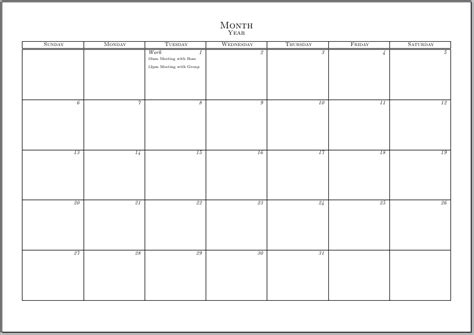 blank 1 month calendar template typeset calendar but with the ability to write notes and