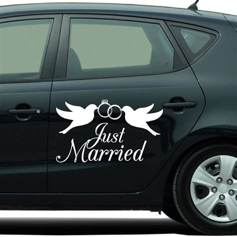 Aufkleber Auto Just Married by Autoaufkleber Just Married Aufkleber