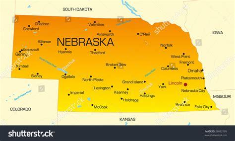 map usa nebraska vector color map of nebraska state usa 26032195