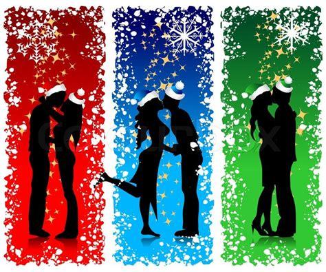 christmas kiss wallpaper couple kissing christmas holiday stock vector colourbox