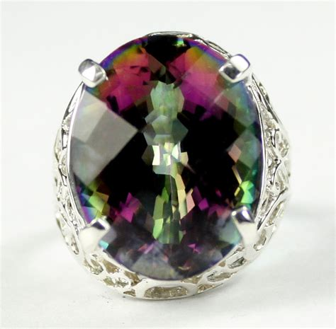 What Does Sterling Background Check Look For Sr291 20x15mm 22ct Mystic Topaz 925 Sterling Silver Ring Genuine Gemstone
