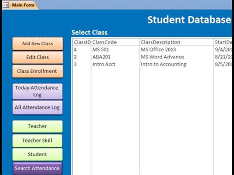 student information system template student database ms access