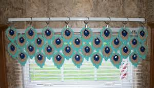 Crochet Kitchen Curtains Peacock Feather Window Valance Crochet Kitchen Curtain