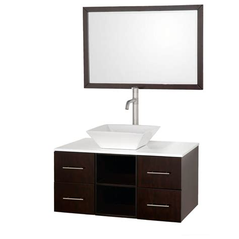 Glass Vanity Tops Wyndham Collection Abba 36 In Vanity In Espresso With Glass Vanity Top In White And Mirror