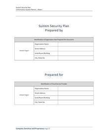 system security plan template fedr system security plan template