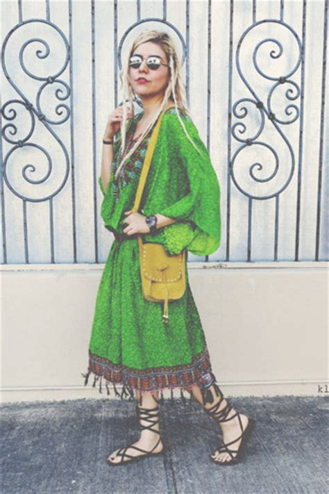 brown sandals green dresses yellow purses