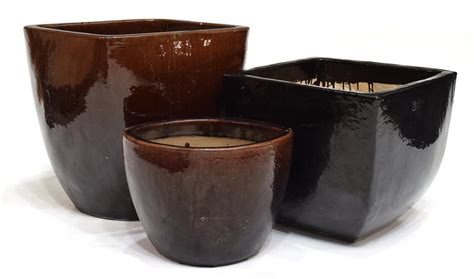 Glazed Planters Large by 3 Of Large Glazed Earthenware Planters Winter
