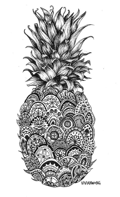 watercolor zentangle tattoo pineapple zentangle black and white pen drawing prints jpg