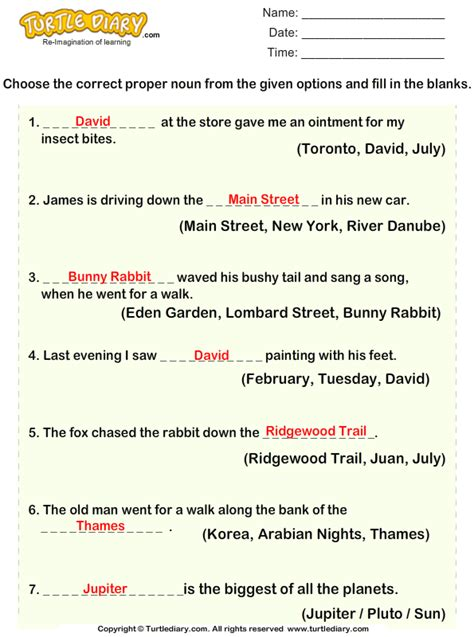 With The Proper choose proper noun for given sentences worksheet turtle diary