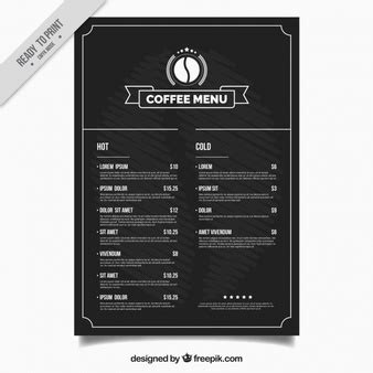 coffee price list template menu vectors photos and psd files free