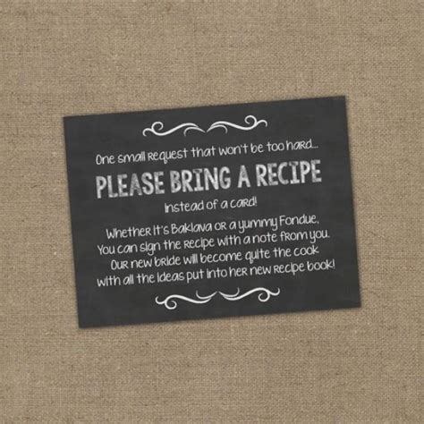 recipe card for bridal shower wording bring a recipe instead of a card insert for bridal shower invitations cookbook gift