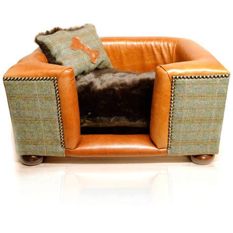 luxury dog bed luxury tweed leather dog bed joshua jones uk