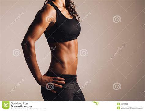 female  perfect abdomen muscles stock photo image