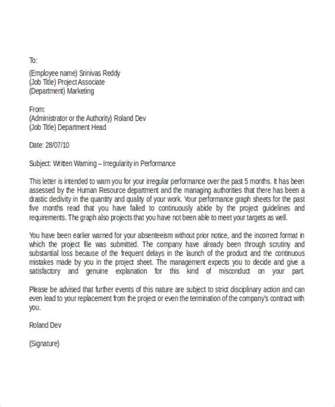 written warning letter template written warning letter for gross misconduct